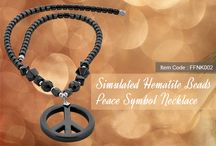 Hematite Beads Peace SymbolNecklace / Simulated Hematite Beads 40mm Peace Symbol 18 Inch Pendant Necklace
