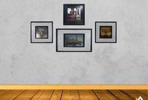 Design de interior com quadros / Exposição de quadros, gravuras, telas e posters na galeria de parede da Casa Castro.