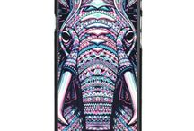 Hot Custom Fashion Elephant Painted Back Case for IPHONE 6 - Black + Multicolor