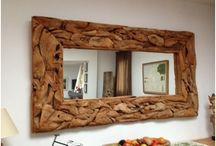 Espejo de raíz / Espejo de raíz de teca. producto ecológico. Diseño, producción y fabricación exclusiva y ecológica por www.comprarenbali.com