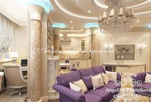 Дизайн интерьера квартиры в стиле модерн в Люберцах / Дизайн – проект интерьера квартиры в Люберцах выполнен в стиле модерн. В оформлении комнат большое внимание уделено декоративным элементам. Расписные стены, фотографии, яркая цветная мебель привязывает и акцентирует взгляд. Цветовая палитра остаётся  неизменной и плавно перетекает по всей квартире.  В комнатах можно почувствовать весеннюю легкость, которая навивает романтическое настроение.