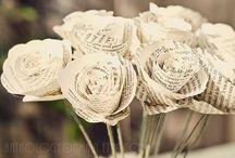 Inspiration bouquets en papier / Fleurs et autres éléments pour bouquets en papier.