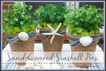 Beach Craft Ideas / Sand covered pots