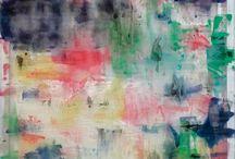 Louis Cane (Né en 1943) & Claude Viallat (Né en 1936) / Ces deux artistes font parti d'un groupe qui se réunit autour de Nice à la fin des années 60 et travaillent sur les relations de la matière peinture avec le support et la surface.
