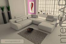 """Rendus 3D """"Salons"""" / Images 3D Photo-réalistes réalisées avec le logiciel InteriCAD. Logiciel 3D: www.logicieldeco.fr"""