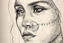 croquis portraits/crayon