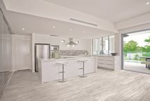 """Precept Porcelain / Precept Porcelain Wall Floor Combination - Veincut travertine look with the ease of porcelain! Available in 12""""x24"""", 13""""x13"""" with a 10""""x20"""" Glossy Wall, 2""""x2"""" Mosaics www.anatoliatile.com"""