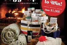 Cozy Up / Get Cozy this Fall with the perfect pairings for a comfy autumn weekend.  We're teaming up with Sea Bags, Boden and Annie Selke to give away a wonderful collection of warm and snuggly clothing and accessories, fun and versatile totes and a huge assortment of delicious Stonewall Kitchen products!