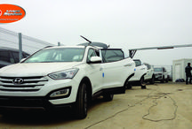 Barras antivuelco interior / Equipamiento de barras antivuelco interior en vehículos para transporte de pasajeros en la minería, Hyundai Santa Fe.