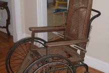 Antique wheelchairs