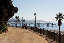 Promenade at beach, Marbella, Spain / The promenade next to the sea in Marbella Spain, Paseo marítimo en Marbella, España