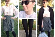 Winter Fashion / Thrifted pink lace Peter Pan blouse Express skirt and tights Nine west pumps Vintage pearl earrings