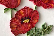 Quilling flower poppies