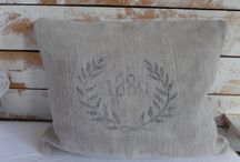 Vintage Linen / Leinenkissen aus alten Mehl- und Getreidesäcken