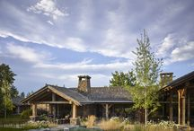 Palisades Ranch / nterweaving numerous buildings within a specific environment is a process that demands taking time to understand the land and its rhythms.  Tucked into the slopes and folds of the Beartooth Mountains, the collection of structures achieves the desired objective while also serving as a working ranch.  The main home with its stone and hewn timber interior, is built around a central node featuring a kitchen, dining and living spaces.