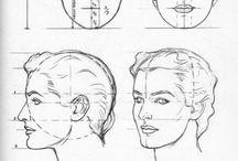 Croquis Visage, face drawing / Aide au dessin