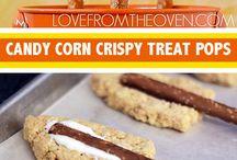 Candy corn pretzel rods / Food
