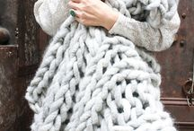 Chunky Knits / I just love pale, neutral colours knitted or crocheted into throws, sweaters,household objects like waste paper baskets!