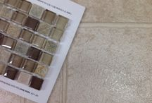 """Living with Sheet Vinyl Flooring / So, you've just built a new home but you had to go with the """"builder basics"""" (like sheet vinyl flooring) OR you just bought a house you intend to fix up but you'll have to live with the sheet vinyl floor for a while.  Here's how to pair it up with a great backsplash accent tile until you can get around to changing the flooring."""