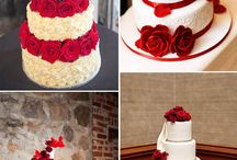 Red wedding cake love