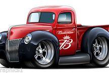 caricature classic car