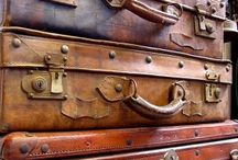 Leather trunks and suitcases