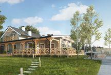 Szkieletowe domy drewniane - wizualizacje oraz projekty / Tablica przedstawia wizualizacje oraz projekty drewnianych domów szkieletowych wykonane przez firmę DASZER