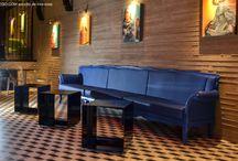 Proyectos Panespol BETON / Gracias a nuestros paneles imitación de cemento es muy fácil conseguir superficies de gran impacto y ambientes de vanguardia.  PANESPOL BETON reproduce con fidelidad diferentes tipos de cemento con diversos grados de coqueras -imperfecciones características de los muros de hormigón o encofrados con tabla de madera-. Disponibles también con efectos de envejecido.