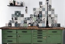 Kitchen projects / Custom kitchen projects with handprinted ARTTILES.  Kitchen inspiration and tile decor ...