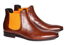 """Phantom Brown and Orange"" by Pete Sorensen / The Phantom is a dandy shoes inspired sixties, seamless design. This is a chelsea boot in full grain superior calf leather. Fully lined in black matte leather on the inside, it has a cushion in the heel (2 cm). Sole design without overhangs makes the Phantom the perfect rock-chic boots day or night."