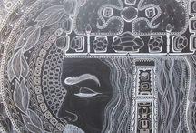 KAREL IV, Král Český,1316 - 2016 / Perokresba, formát A1, černý karton, bílá tuš KOH-I-NOOR, bílý pastel FABER-CASTELL, barva stříbrná+zlatá Autor: Johana Hájková 6/7/2016