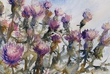 Painting  Thistles / chardons / by Francoise Chauray