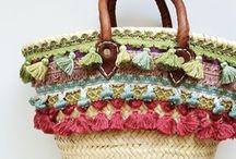 Borse ,borse di paglia decorate e accessori