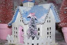 CRAFTS | Glitter House Ideas / Putz glitter houses and Christmas villages made from paper, cardstock & matboard