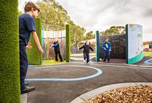 Suneden Special School Sensory Play Space / Play created from the everyday.  Pipes, bitumen and line marking add creativity and anything is possible.  Images by Dan Schultz www.sweetlimephoto.com.au