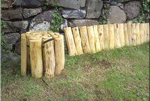 Kerti járda / Fa kerti járda, tégla járda, szeletelt fakorongok, ágyásszegély, fűszegély, fa térburkolat