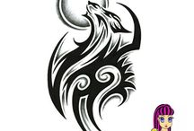 Wolf Head, Fish and Moon / Logo for boat