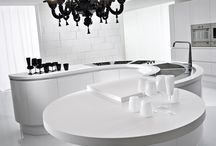 Modern European Artika 2015 NYC / The original curved kitchen. An Italian kitchen design classic that has already been copied by several modern European kitchen companies. Artika is characterized by curved base, pantry and wall cabinets, in addition to a radius edge detail on both top and bottom of front panels.