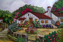 quadros pintados e bordados de fitas
