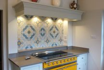 Kitchen Splashback / Digital Print. Martin Moore Cabinetry. Kitty Shepherd Pots.