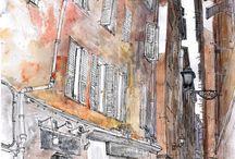 Nice, France. Urban sketch. Plein air