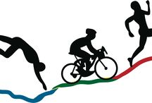 Triathlon / A competition in which the people competing must swim, ride a bicycle, and run particular distances without stopping between events! It's very strong!