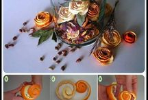 flores con cáscara de naranja