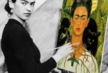 Frida Kahlo : extraordinary / There is something about her artworks that draws me in. Selma Hyack was amazing in the movie of Frida's life.