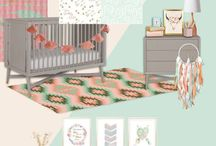 Nursery Themes // Boho Soul / Bohemian Boho Baby Girl Nursery, with feathers, dream catchers and southwestern skulls. Perfect for your wild flower child! Featuring salmon, mint and gold crib bedding.