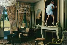 Annie Leibovitz - Alice in Wonderland-Inspired Vogue 2003 editorial / In a French château, Natalia Vodianova poses wearing a couple of different blue dresses specifically made for her. The best fashion designers were invited to this project as the models; they're also behind each of the Natalia's dresses. Among these designers are Christian Lacroix as the March Hare, Tom Ford as the White Rabbit, Marc Jacobs as the Caterpillar, Viktor & Rolf as Tweedledum and Tweedledee, and John Galliano as… the Red Queen. Read more about this shoot on blog/barste.com