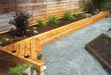 garden bench on raised border