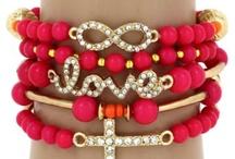 $6.55 5-Piece Love, Infinity, Cross Hot Pink and Goldtone Beaded Stretch Bracelet Set