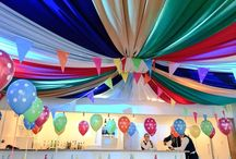 Children Party - circus bigtop effect / Above the children party area, we used different coloured fabric to create a bigtop effect for birthday boys 7th birthday celebrations.
