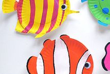 Paper plate colourful fishes